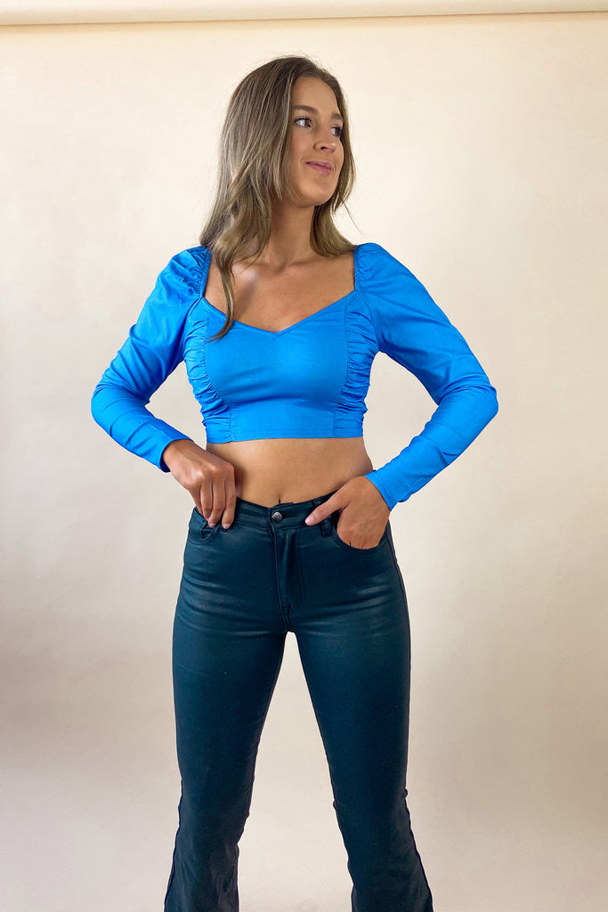 Baby Blue Runched Top
