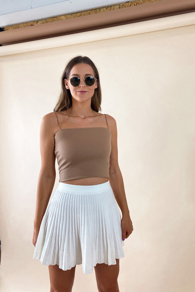 Electric Ribbed Cami in Camel