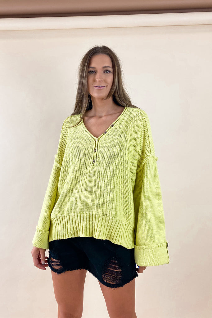 Dallas Button Knit in Green