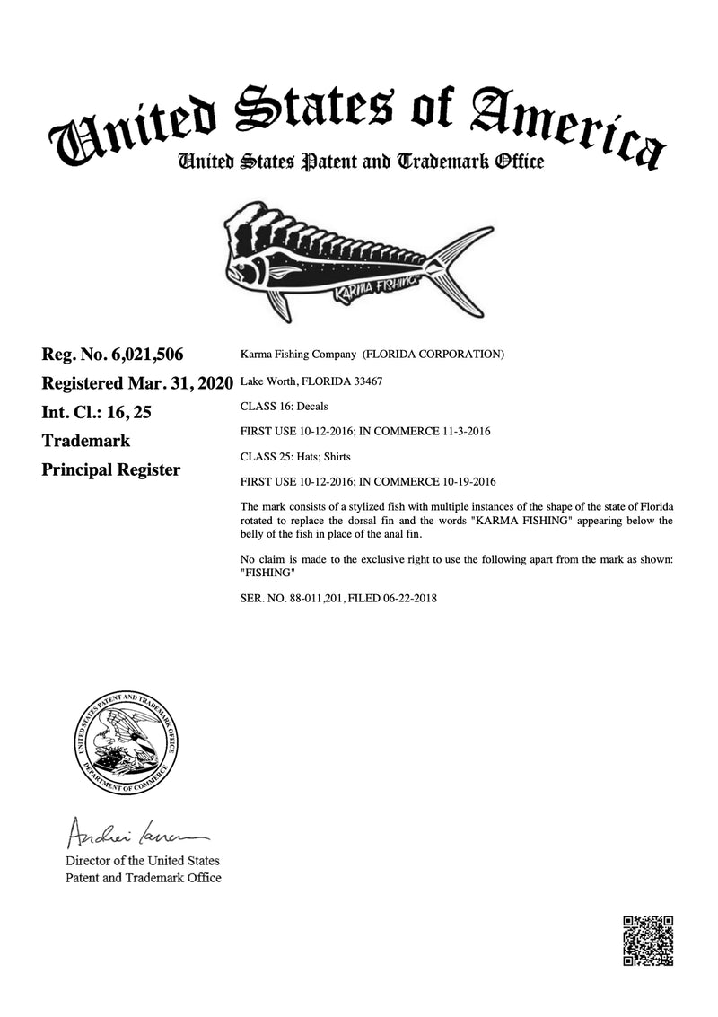 Florida Mahi USPTO Trademark No. 6,021,506