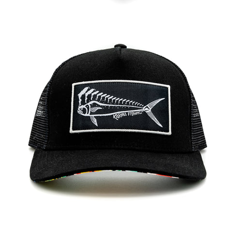 Florida Mahi Trucker, Black with Floral