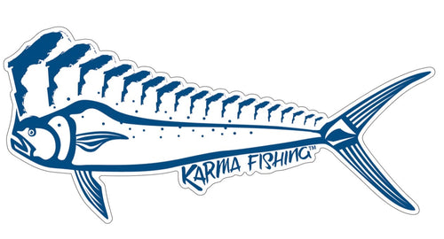 "Florida Mahi 12"" Car Decal, Blue on White"