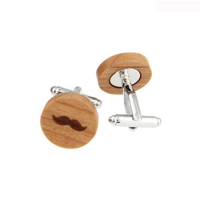 Cherry Wood Mustache Inspired Cufflinks - woodfashionista.com