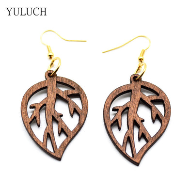Handmade Wood Leaf Earrings - woodfashionista.com