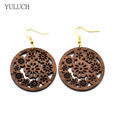 African Wood Flower Earrings - woodfashionista.com