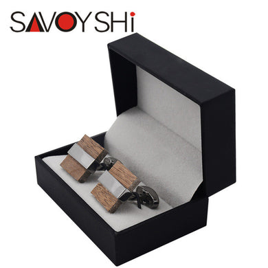 SAVOYSHI Luxury Square Wood Cufflinks - woodfashionista.com