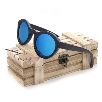 BOBO BIRD 2017 Ebony Wood Round Sunglasses with Wooden Box - woodfashionista.com