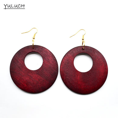 Big Round Natural Redwood Hoop Earrings - woodfashionista.com