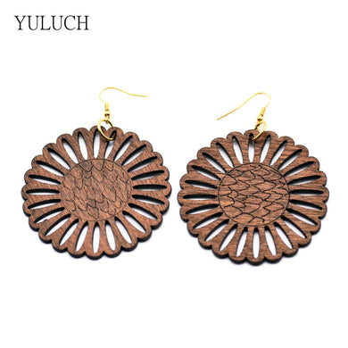 Sunflower Wood Earrings - woodfashionista.com