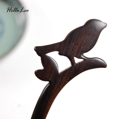 Hand Carved Lovely Magpie Hair Stick - woodfashionista.com