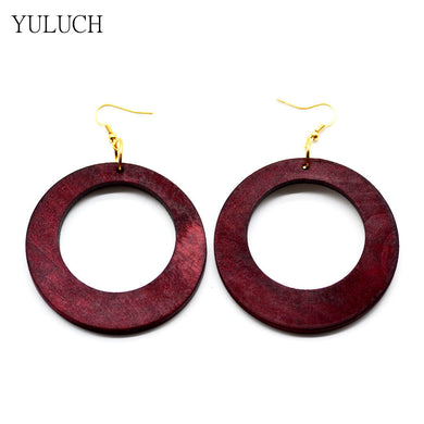 Red Wood Big Round Earrings - woodfashionista.com