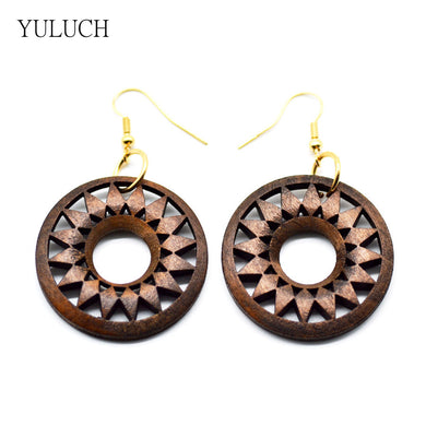Wood Sunburst Earrings - woodfashionista.com