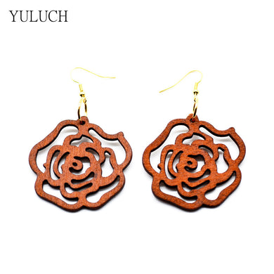 Beautiful Rose Inspired Wood Earrings - woodfashionista.com