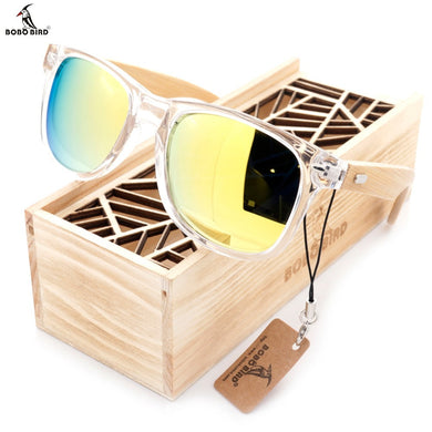 BOBO BIRD 2017 Clear Frame with Bamboo Sunglasses With UV 400 Protection - woodfashionista.com