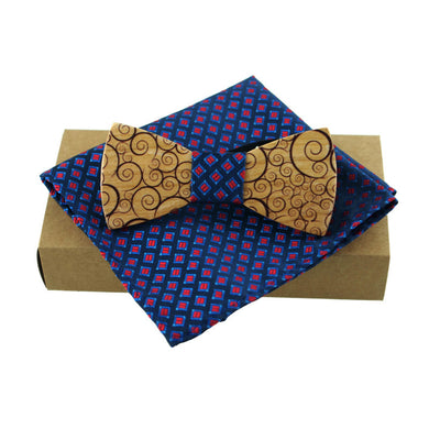 Wood Bow Tie with Classic Pocket Square - woodfashionista.com