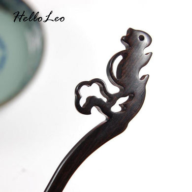 Hand Carved Squirrel Hair Stick - woodfashionista.com