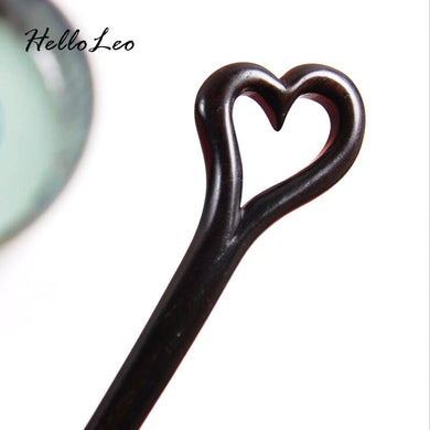 Hand Carved Lovers Hair Stick - woodfashionista.com