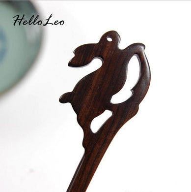 Hand Carved Rabbit Hair Stick - woodfashionista.com