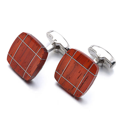 Square Rosewood Cufflinks with a Geometric Pattern - woodfashionista.com