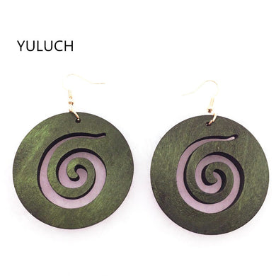 Swirl Design Drop Earrings - woodfashionista.com