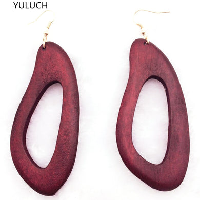 Oblong Wood Hoop Earrings - woodfashionista.com
