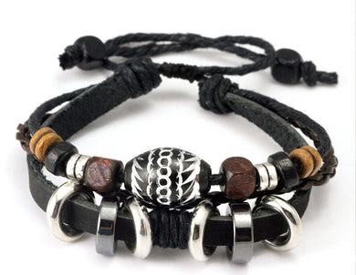 Leather Rope Bracelet with Wooden Beads and Metal Charms - woodfashionista.com