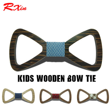 Cute Kids Hollow Design Wooden Bow Tie - woodfashionista.com