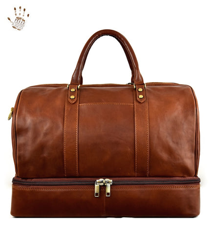 Big Leather Luggage with shoe compartment