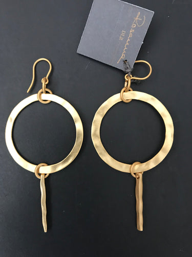 Vellumy Rosanna 11502 Hammered Lolipop Earrings Gold