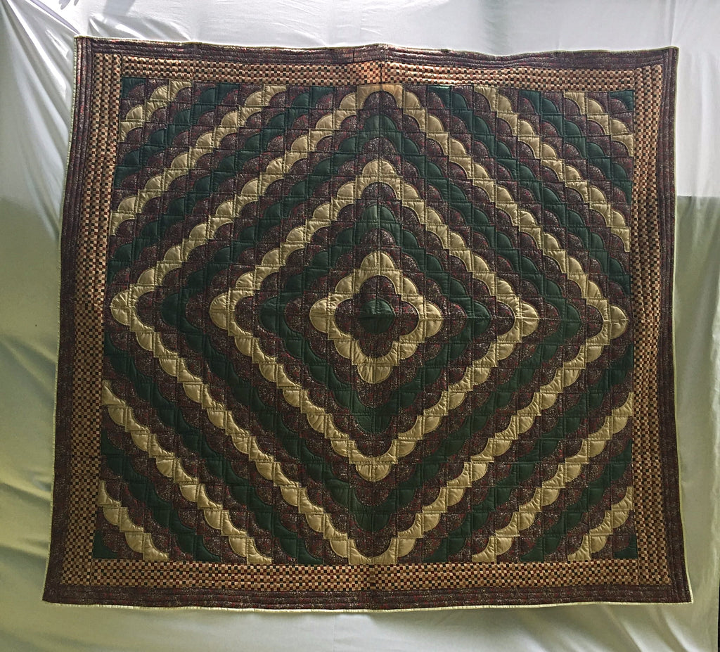 "Drunkard's Path pattern brand new, heirloom quality handmade quilt in gold, hunter green, and red multi. Diamond shape begins in center and emanates out through this beautiful blanket. 90"" x 99""."