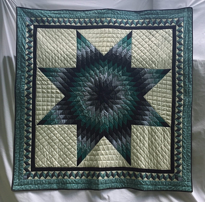 "Blacks, gray and green exult in a traditional Lone Star Pattern handmade in Kentucky, USA quilt. Hand-pieced. Hand-quilted. 93"" x 93""."