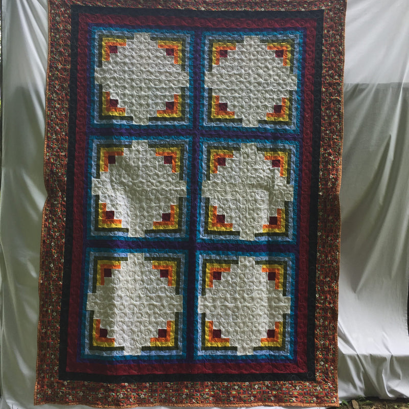"""Dancing Diamonds"" Log Cabin Pattern Handmade Quilt"