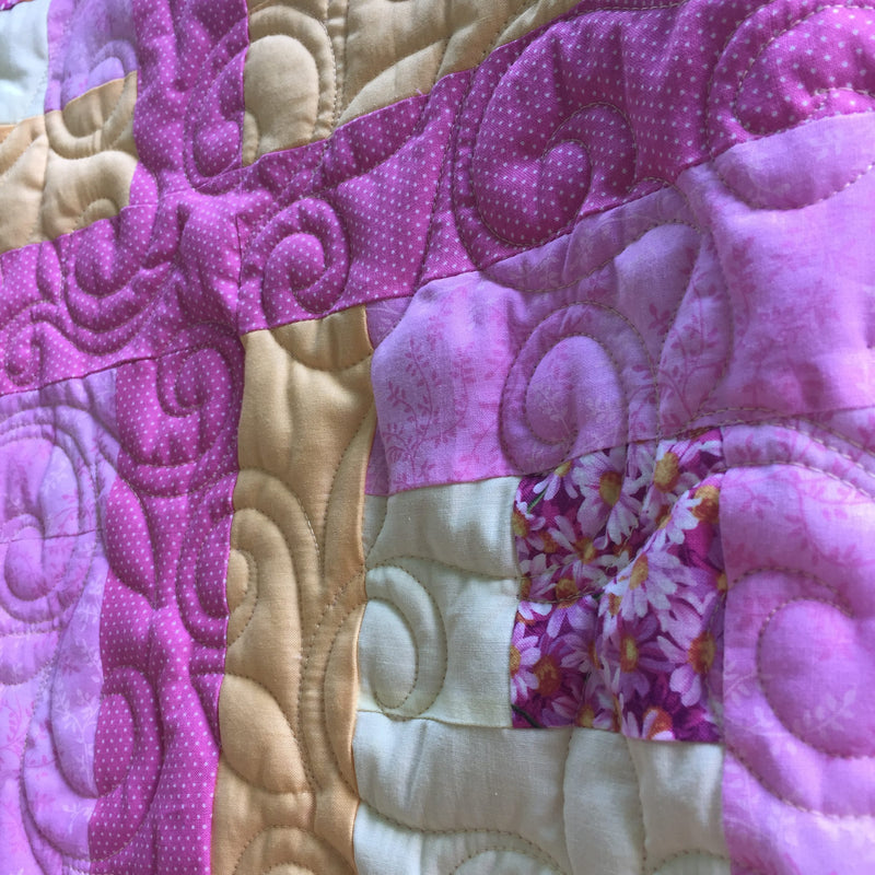 Pink Lemonade Log Cabin Pattern Handmade Throw Quilt