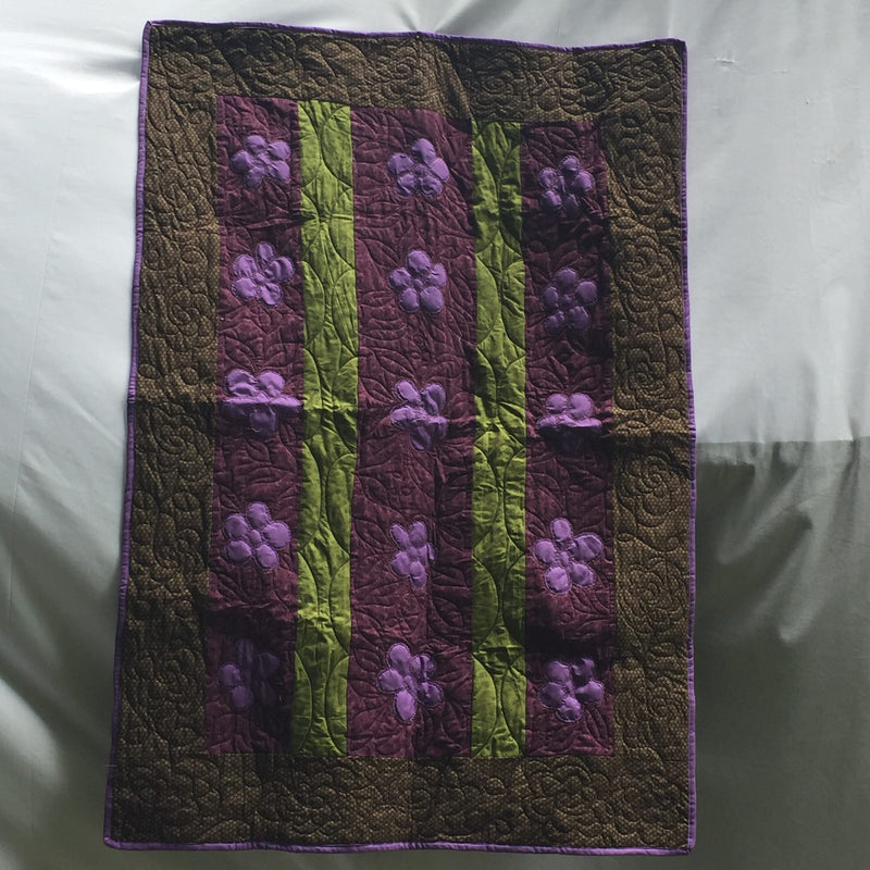 Purple Pansies Baby Toddler Quilt & Playmat