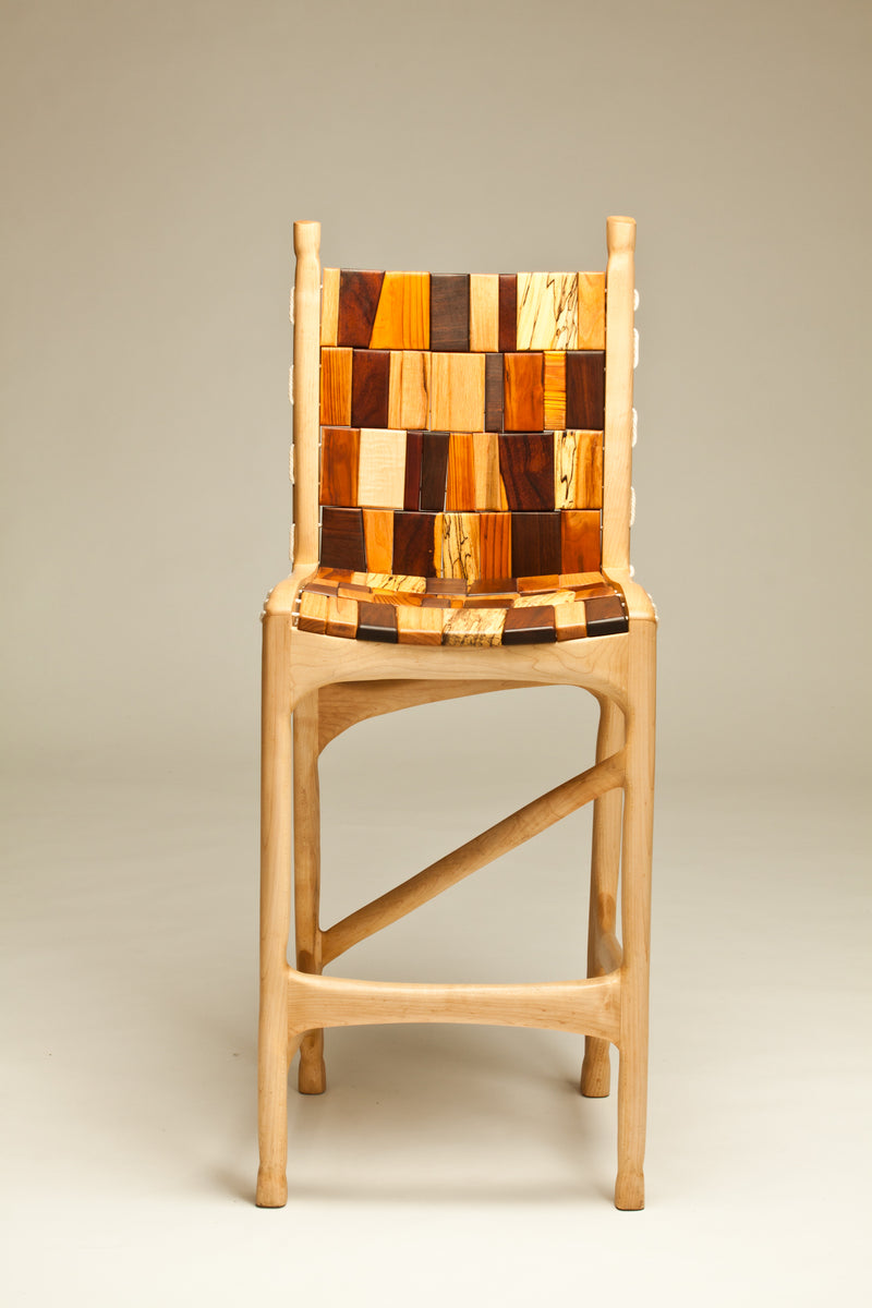 Sculpted Maple Bar Stool