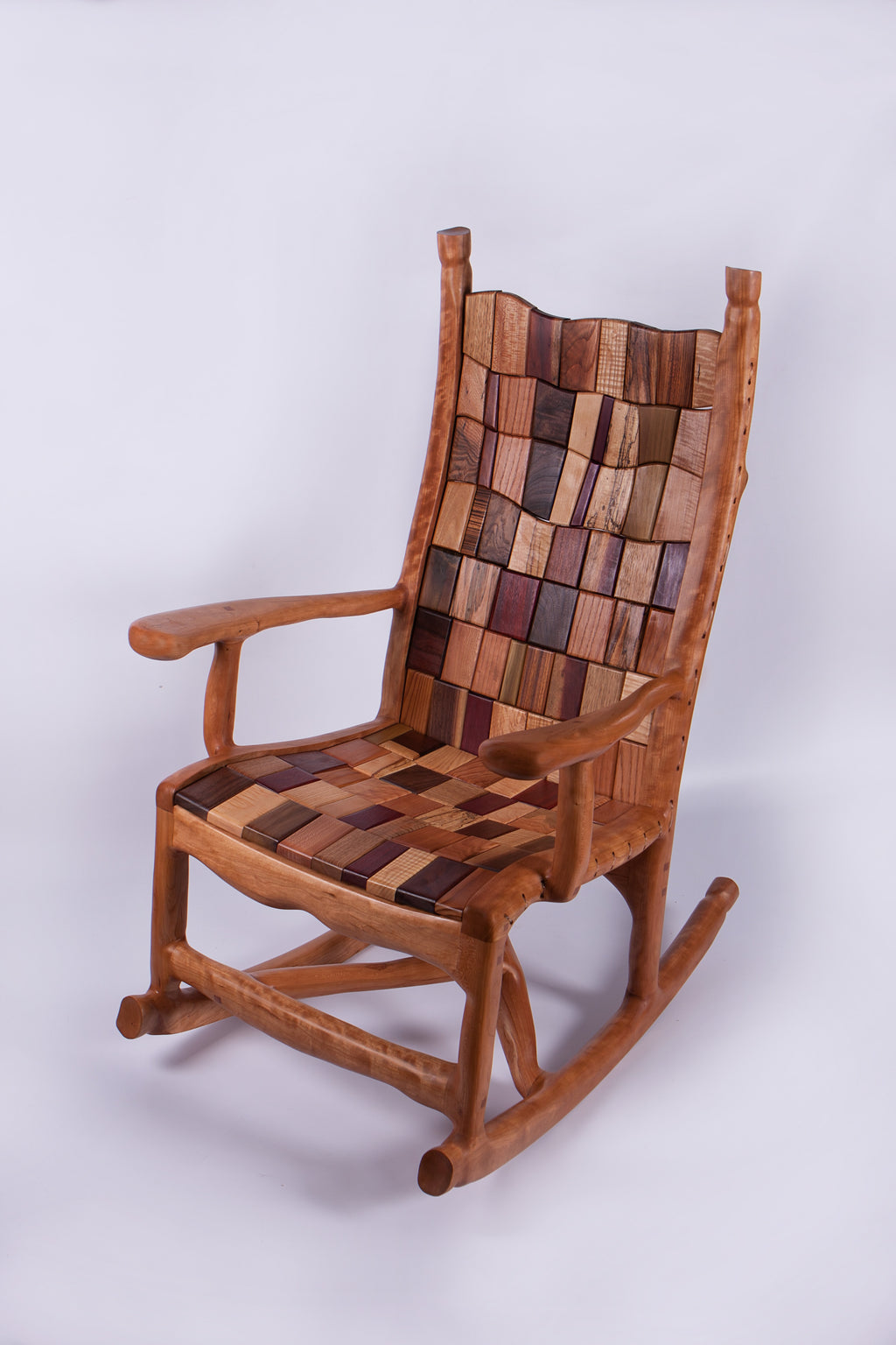 Sculpted Curly Cherry Rocking Chair