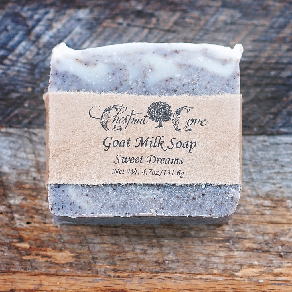 "Handcrafted Sweet Dreams Goat Milk Soap from Chestnut Cove Farm with calendula and lavender. They milk their own goats for the epitome of authenticity. No synthetic colors are ever used. All Chestnut Cove Soaps are colored using natural sources such as roots, clay, or cocoa. 4.7 oz bar. Approximately 3.25"" x 3.25"" x 1"". See for yourself why they're a local favorite!"