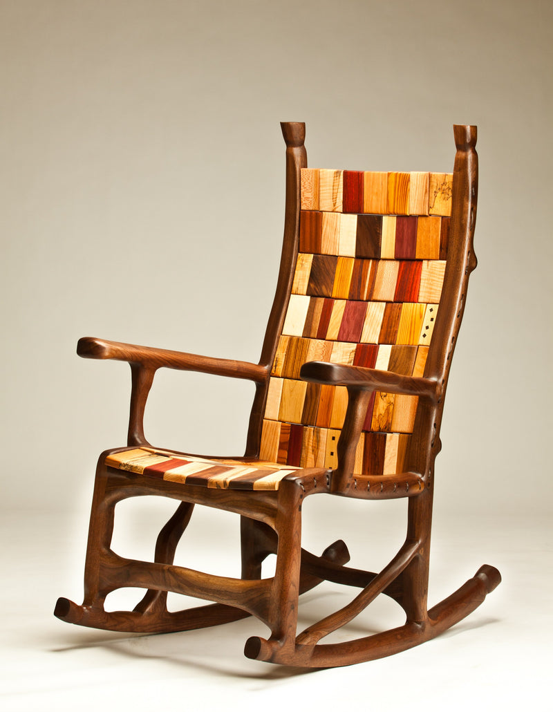 Sculpted Black Walnut Rocking Chair