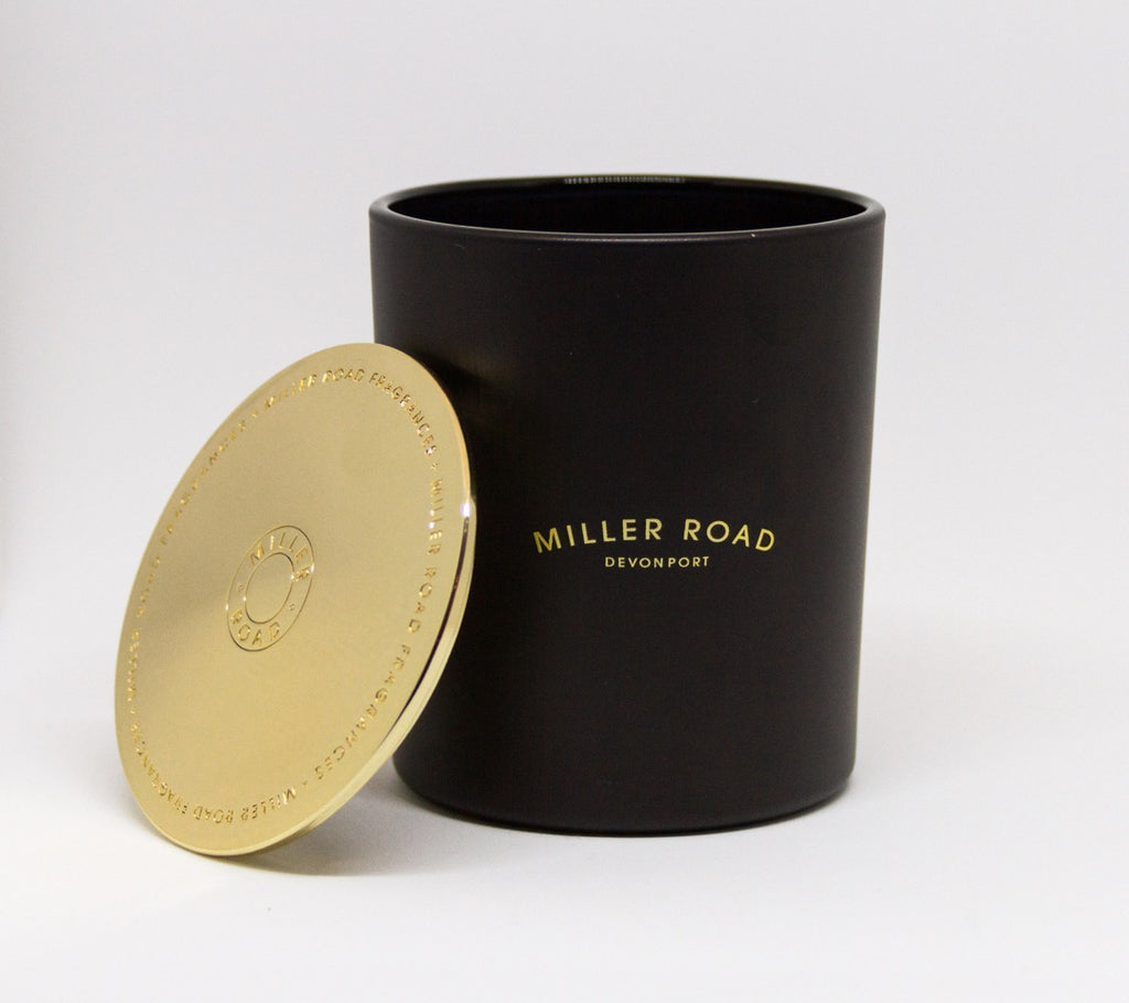 Miller Road Black Candle with Gold Lid - Deluxe Range