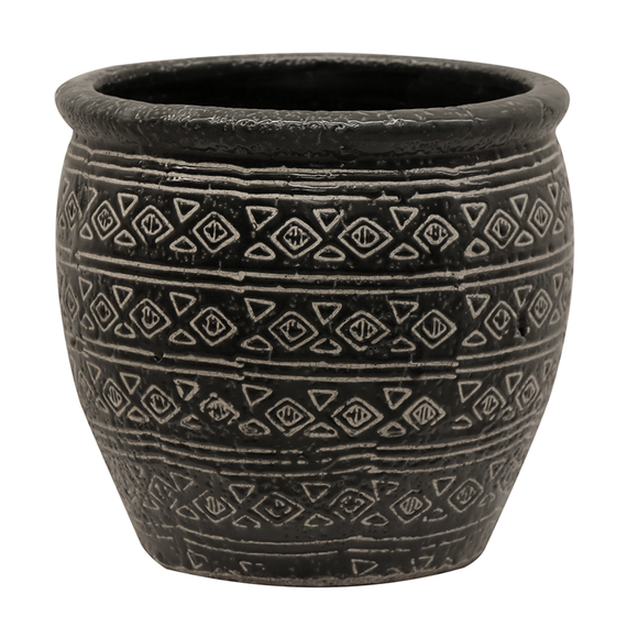 Aztec Pot - Black/Natural