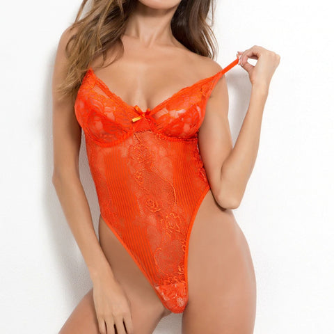 Vivid Dreams Lace Bodysuit - Hot Pink / Neon Yellow / Orange / Purple / Blue / Red / White / Wine Red / Coffee / Army Green / Nude / Yellow / Black