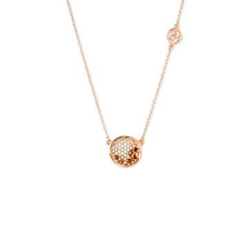 Sterling Silver Round Brown CZ Micro Pave Necklace