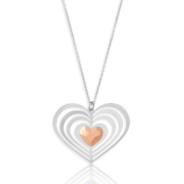 Sterling Silver 3D Open Heart Crystal Necklace