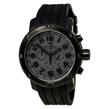 TW Steel TW129 Men's Grey Dial Rubber Strap Chronograph Watch