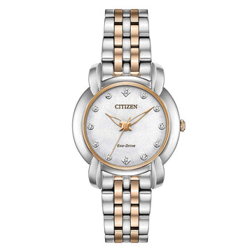 Citizen Women's Diamond Watch - Jolie White Dial Two Tone Steel | EM0716-58A