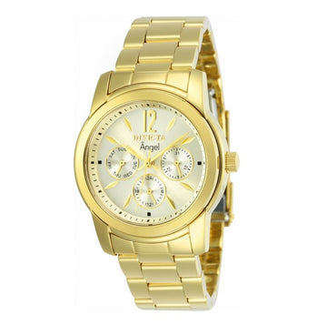 Invicta 12551 Women's Yellow Steel Bracelet Swiss Quartz Angel Gold Tone Dial Day-Date Watch