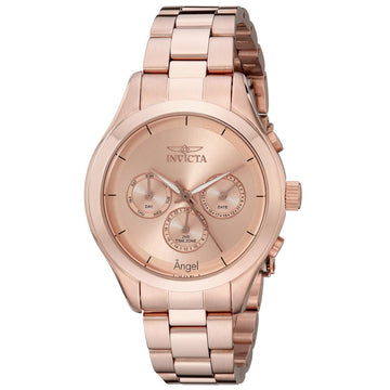 Invicta 12467 Women's Angel Rose Gold Dial Rose Gold Plated Steel Bracelet Watch