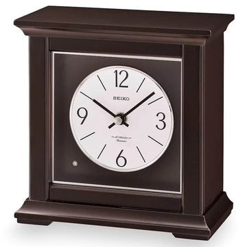 Seiko Mantel Clock - Dark Brown Wooden Music and Chime | QXW245BLH