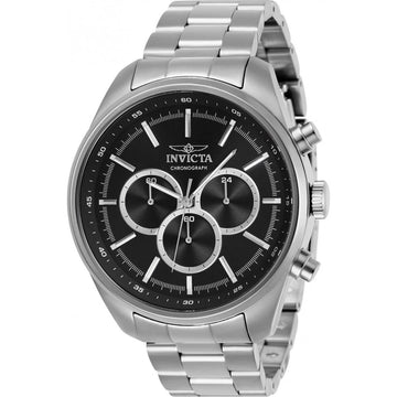 Invicta Men's Chrono Watch - Specialty Black Dial Silver Tone Bracelet | 29163