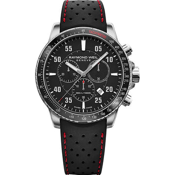 Raymond Weil Men's Chrono Watch - Tango 300 Black Dial Rubber Strap | 8570-SR1-05207